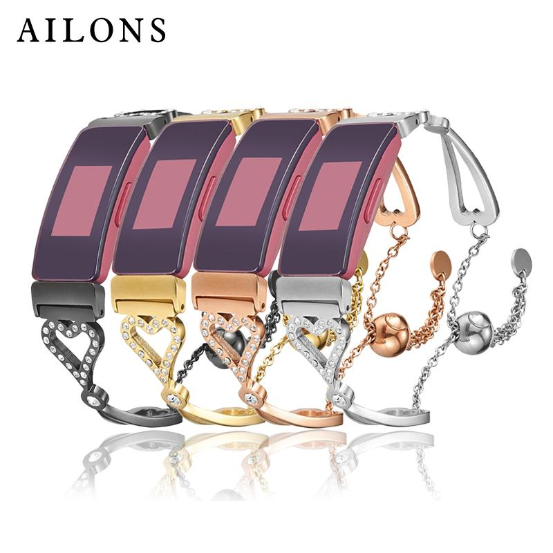 Coeur en forme d'étrier métallique en acier inoxydable zircon évidé bracelet fermoir réglable