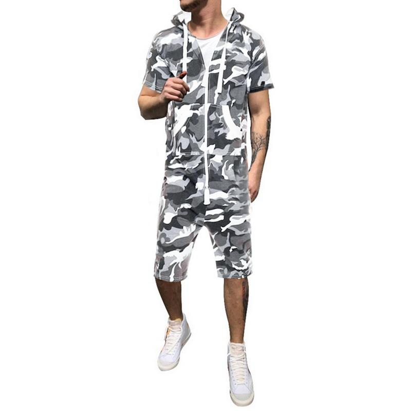 Mens Casual 2 Piece Outfits Camouflage Short Sleeve Crewneck Shirt/& Shorts Jumpsuit Set