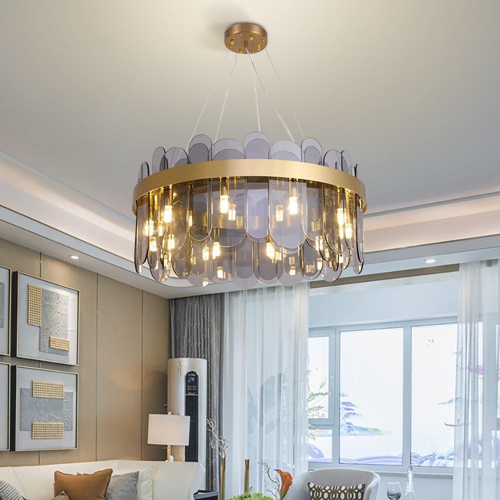 Modern Tasarım Chnadelier Kaplama Altın oda Asma Işıklandırma Oval Cam Gölge Temizle Kordon Taban G9 AC 90-260V Yaşayan Standı