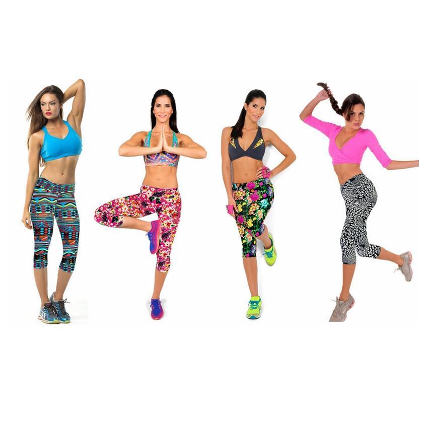 Women Yoga Outfits Floral Printed Sports Leggings Ladies Yoga Pants Sport GYM Running Skinny Workout Legging Pencil Pants GGA2694