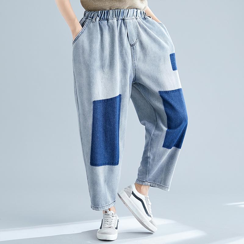 Mode Patchwork lose All-Match-Harem Jeans Frauen gebleicht gewaschener blauer Denim-Hosen weibliche elastische hohe Taille Slouchy Hose