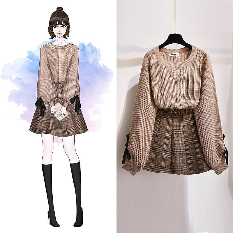 ICHOIX kadınlar 2 parçalı set örme üstler ve etek seti Kore tarzı öğrenci rahat iki parça kıyafetler kış seti giysiler düşmek 2020 Y200701