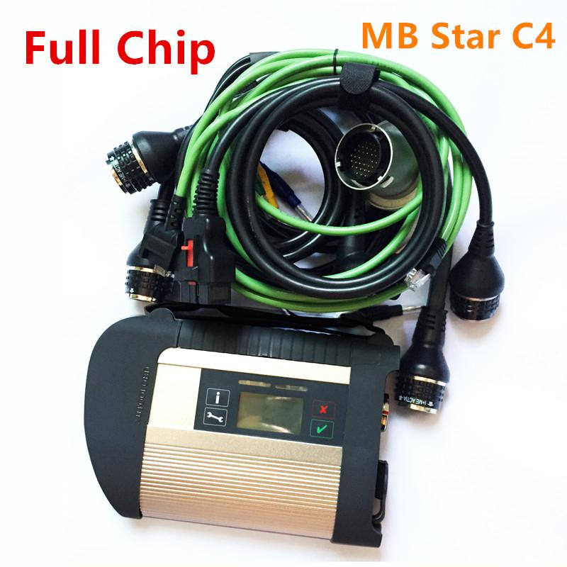 Full Chip MB Star C4 SD Connect Compact 4 Diagnostic Tool with Wifi Function MB SD C4 multiplexer with full set cables Star C4