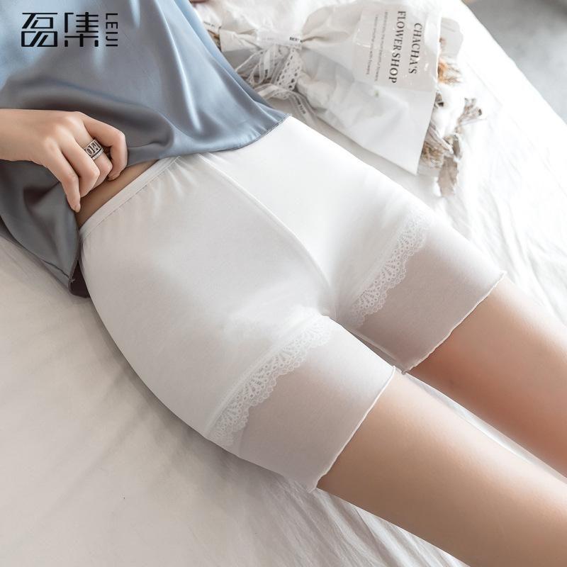 Pantalones cortos de seguridad Pantalones de encaje sin costuras suaves más el tamaño Cómodo Cintura alta Material de algodón Boxeador Pantiesant para mujeres