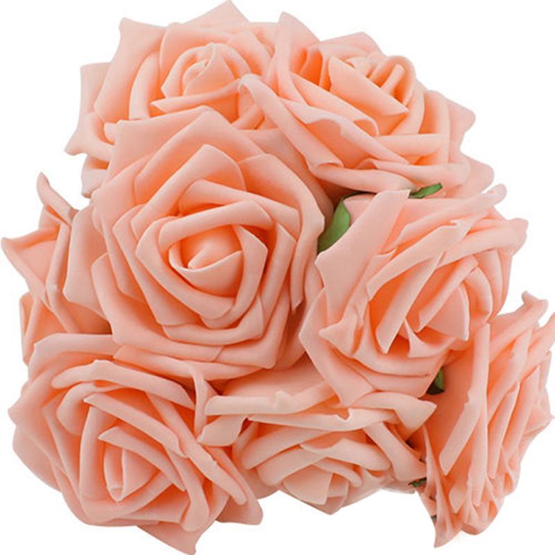 100 Peças / lote 8 CM Flores Artificiais para o Casamento rosa Festa de Noiva Bouquet PE Espuma falsa Rose DIY Home Decor Flores