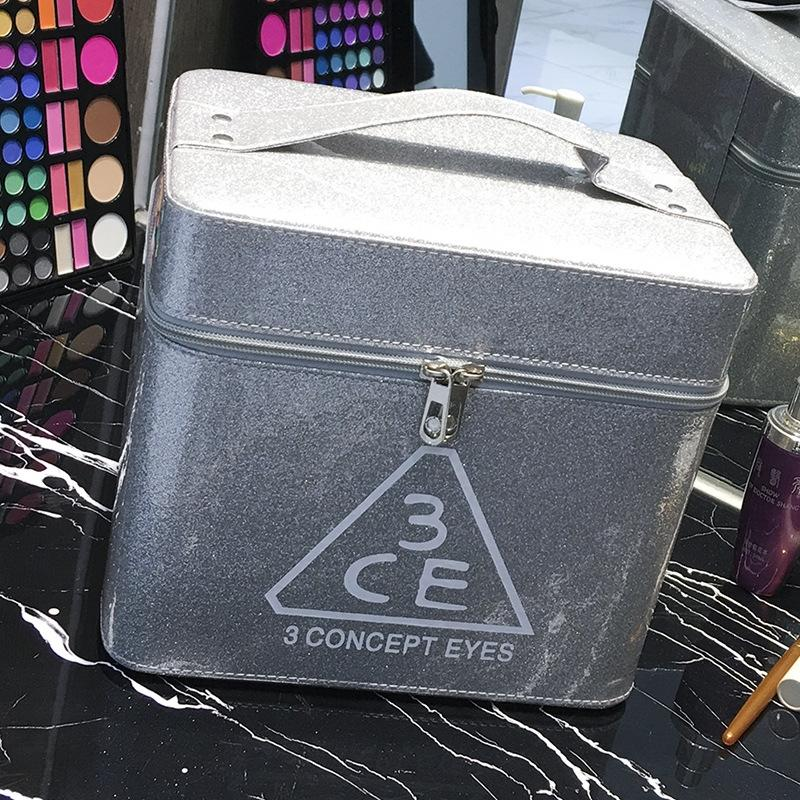 Large Capacity bag Portable cosmetic bag waterproof portable large mirror cosmetic case 3CE