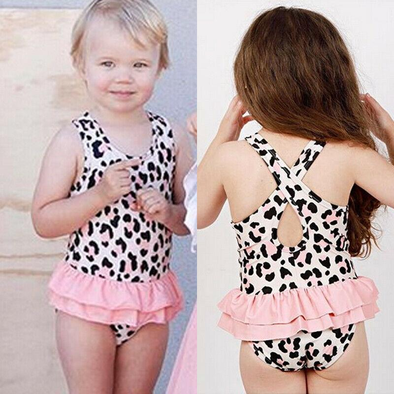 LAJIFENLEI Infant Toddler Baby Girl Leopard Ruffle Swimsuit One Piece Folds Swimwear Bathing Suit Beach Wear Tankini Bikini