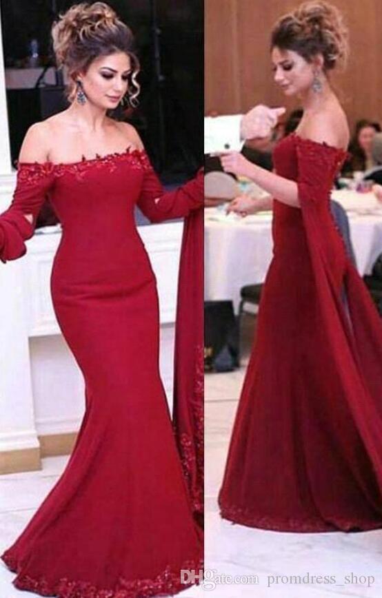 부르고뉴 인어 이브닝 드레스 2020 새로운 오프 숄더 연예인 드레스 긴 선발 대회 파티 드레스 아랍어 특별 행사 드레스