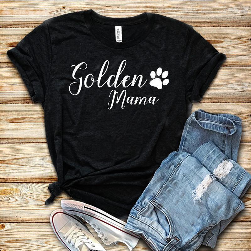 100% Pure Cotton T Shirt Ouro Mama Letter Impressão Mulheres manga curta O pescoço solto T-shirt 2020 Verão meninas camiseta Tops