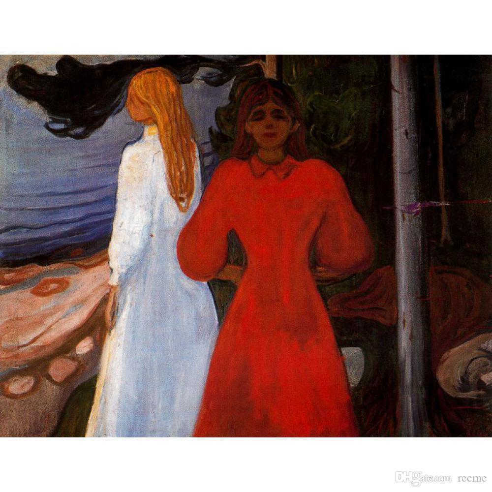 Haute qualité Edvard Munch Paintings rouge et blanc - art abstrait moderne peint à la main