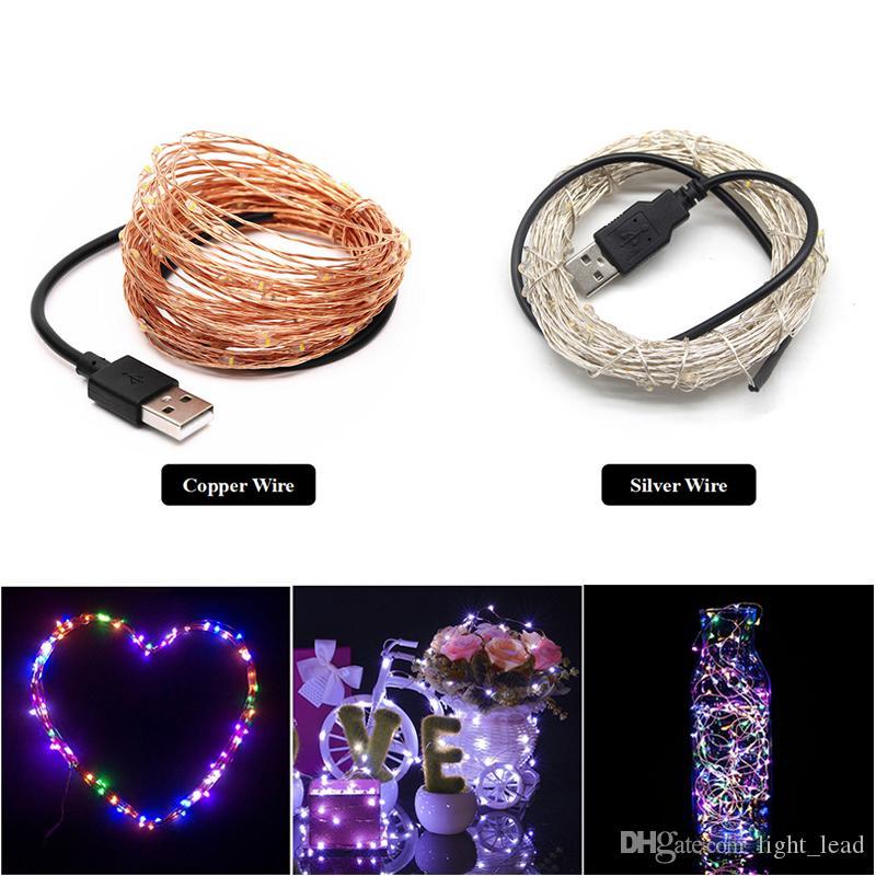 USB LED Cadena de luz 10 M 100 leds astilla larga vida 5 V Navidad vacaciones boda fiesta decoración Festival hadas lámpara