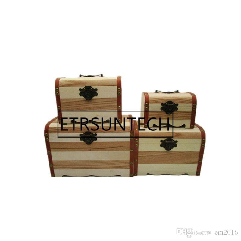 20pcs Vintage Jewelry Pearl Necklace Bracelet Wooden Treasure Chest Case Cute Piggy Bank Can Be Locked Storage Box