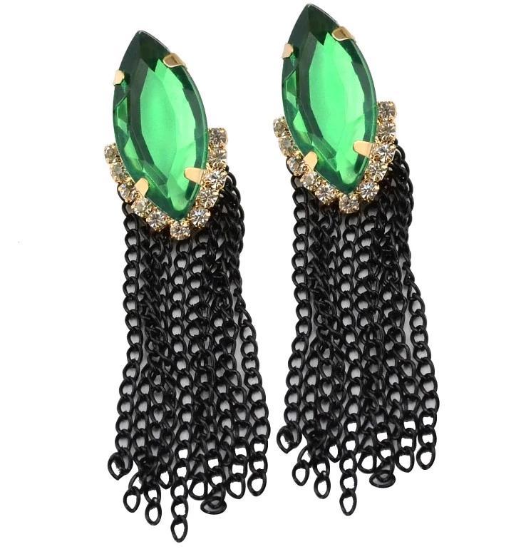 Cadenas nueva chica En la moda de joyería de metal plateado cristalino del oro negro verde borlas Pendientes de Dangel