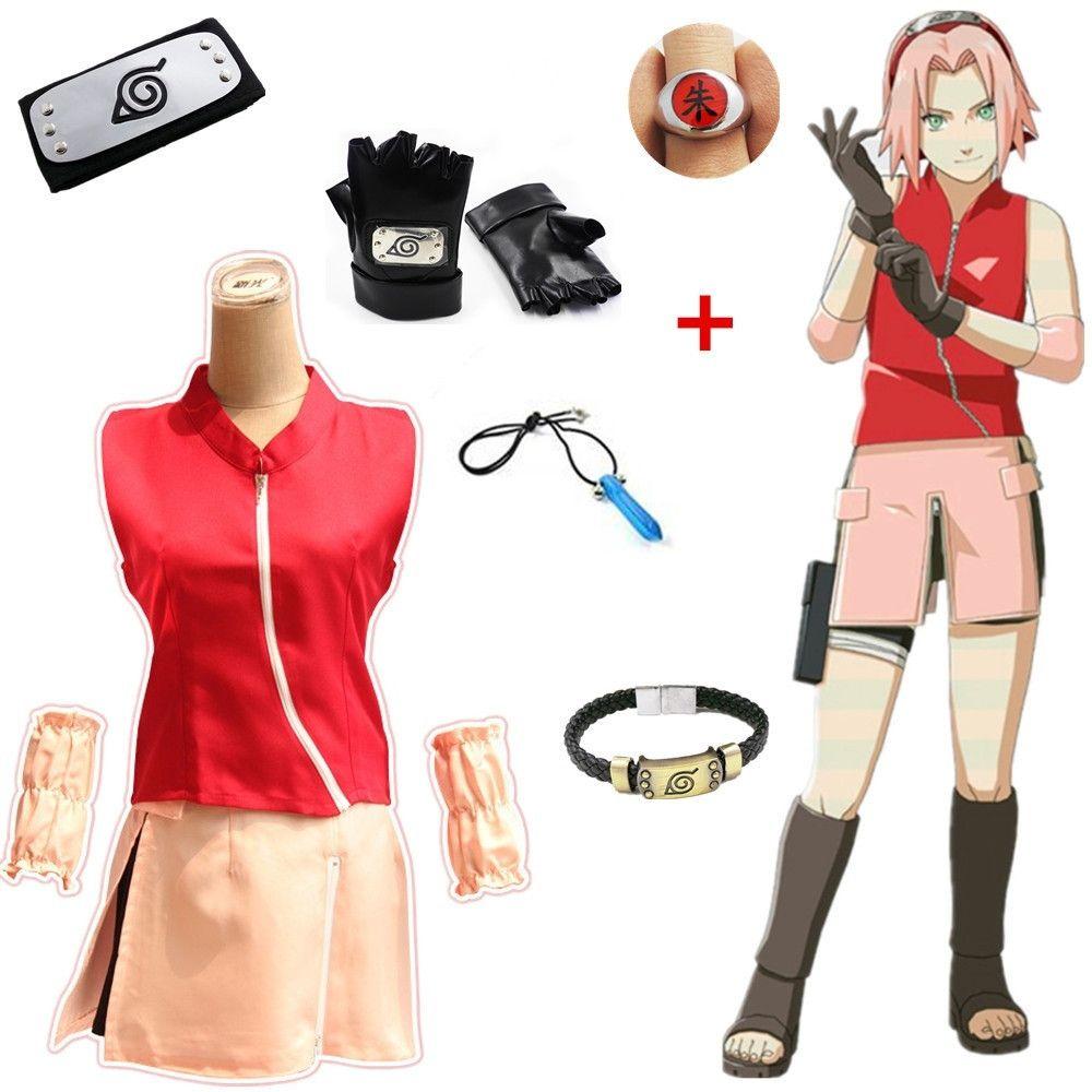 Asya Boyut Japonya Anime Naruto Sakura Haruno Cosplay Kız Parti Kostüm Halloween Üniforma Gömlek Etek Tam Set
