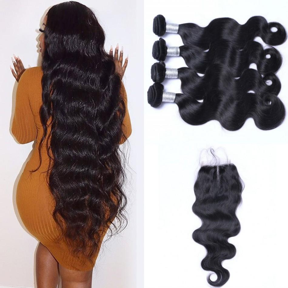 4 pacotes com fecho de onda do corpo Cabelo Humano Weave Pacotes com laço Encerramento mongol cabelo Non Remy