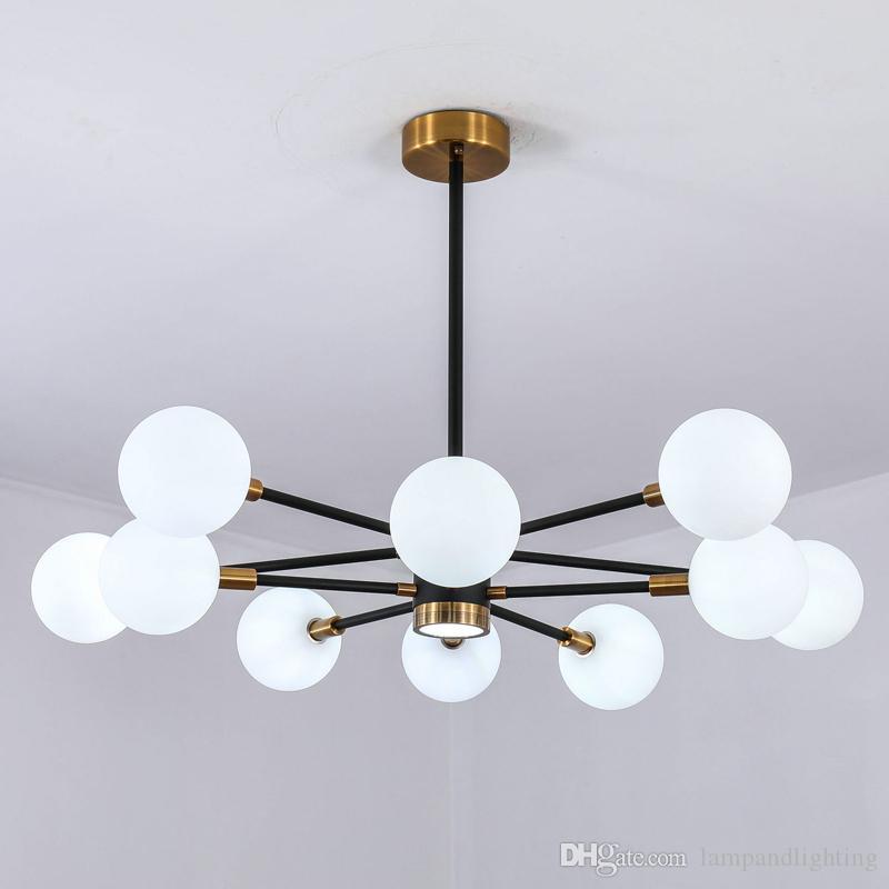 Modern Nordic muti-head globe glass pendant lamp droplight ball lighting fixtures white black hanging lamps for bedroom living dinning room