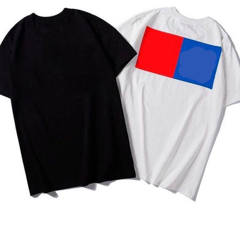 100% Cotton Red Blue Square Herren T-Shirt beiläufige Sommer-Tops T-Shirts Männer Frauen Paare Mann Anti-Shrink T Shirts Top Kurzarm T-Shirts