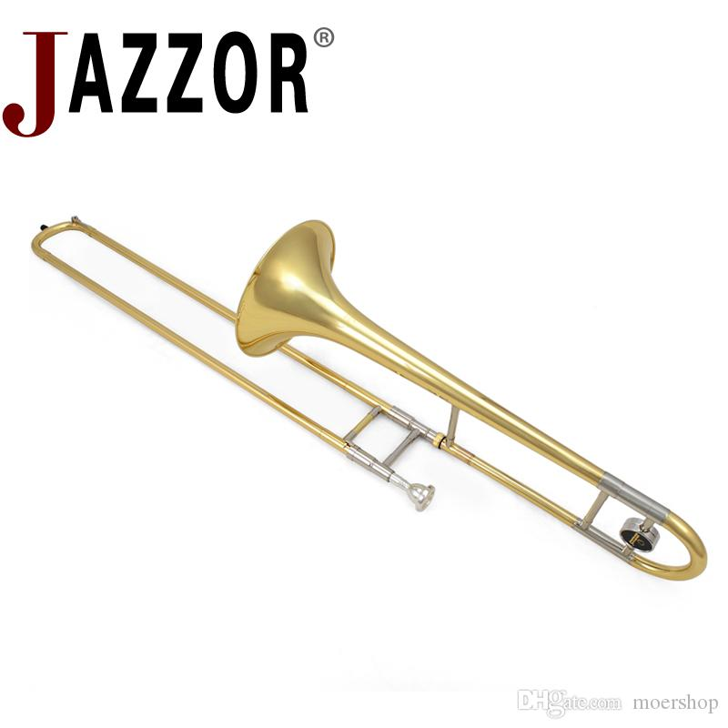 Professional JAZZOR JYTB-E100 Alto trombone B Flat Gold lacquer brass trombone Wind instrument with trombone mouthpiece and caseProfessional