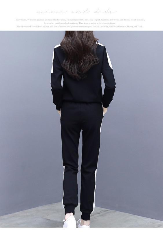 Rayé gros-noir avant blanc Slim Fit Sweat et pantalon Set Crop Top Automne Casual Sporting femmes ensembles deux pièces