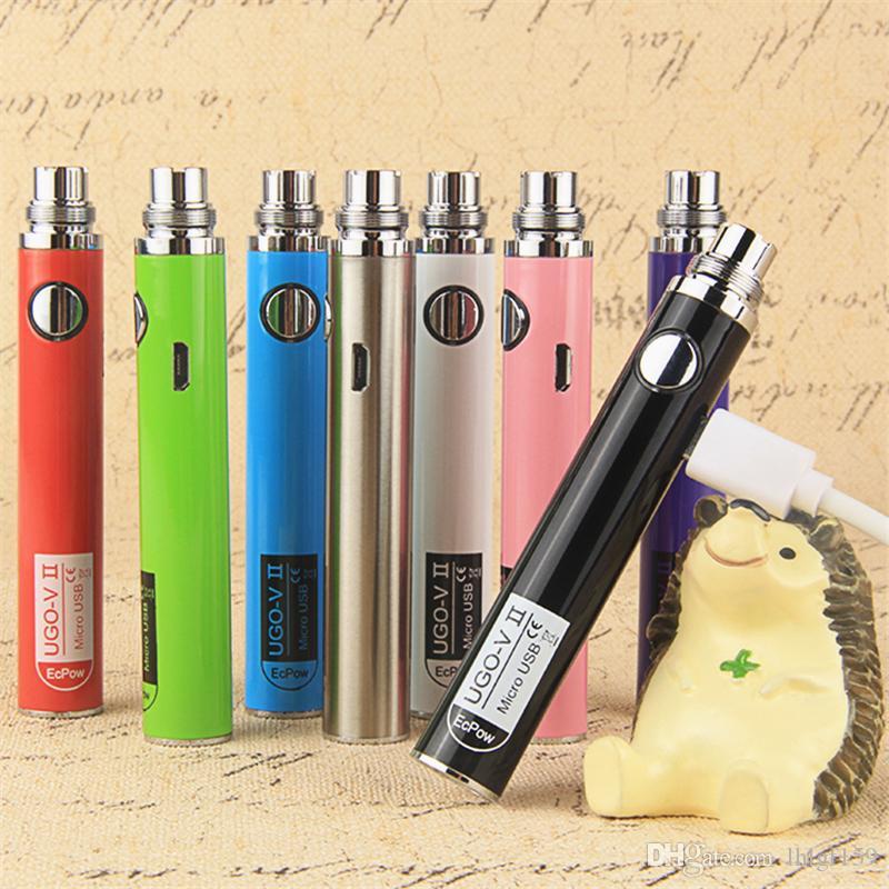 Оригинал Ecpow UGO V II Аккумуляторная батарея для электронных сигарет UGO-V II 650 900 мАч USB сквозной Vape с USB-кабелем Fit 510 Резьба CE3 распылителей