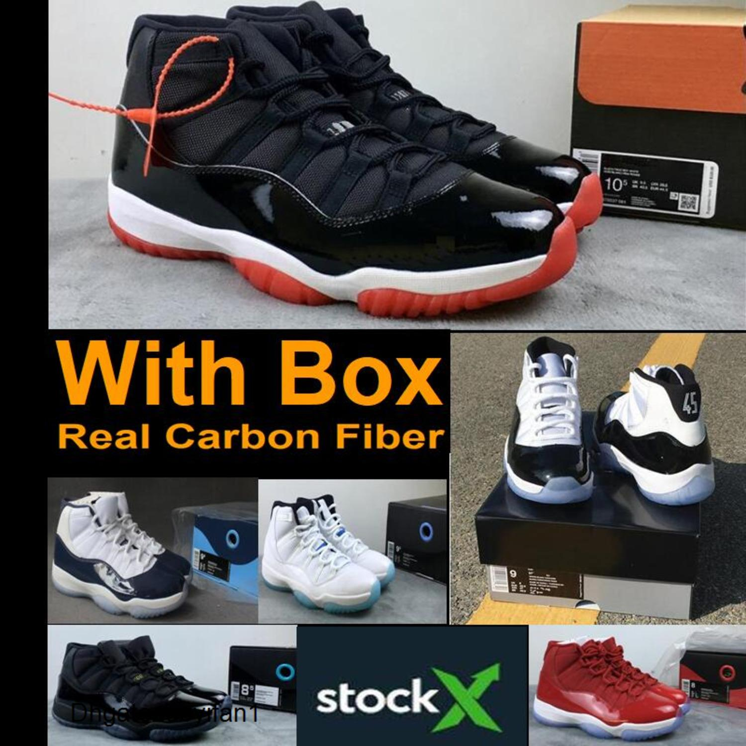New 2019 Bred 11s Real Carbon Fiber Concord 11 Win Like 82 Space Jam Basketball Shoes With Box Sneakers Wholesale Men Gamma Blue