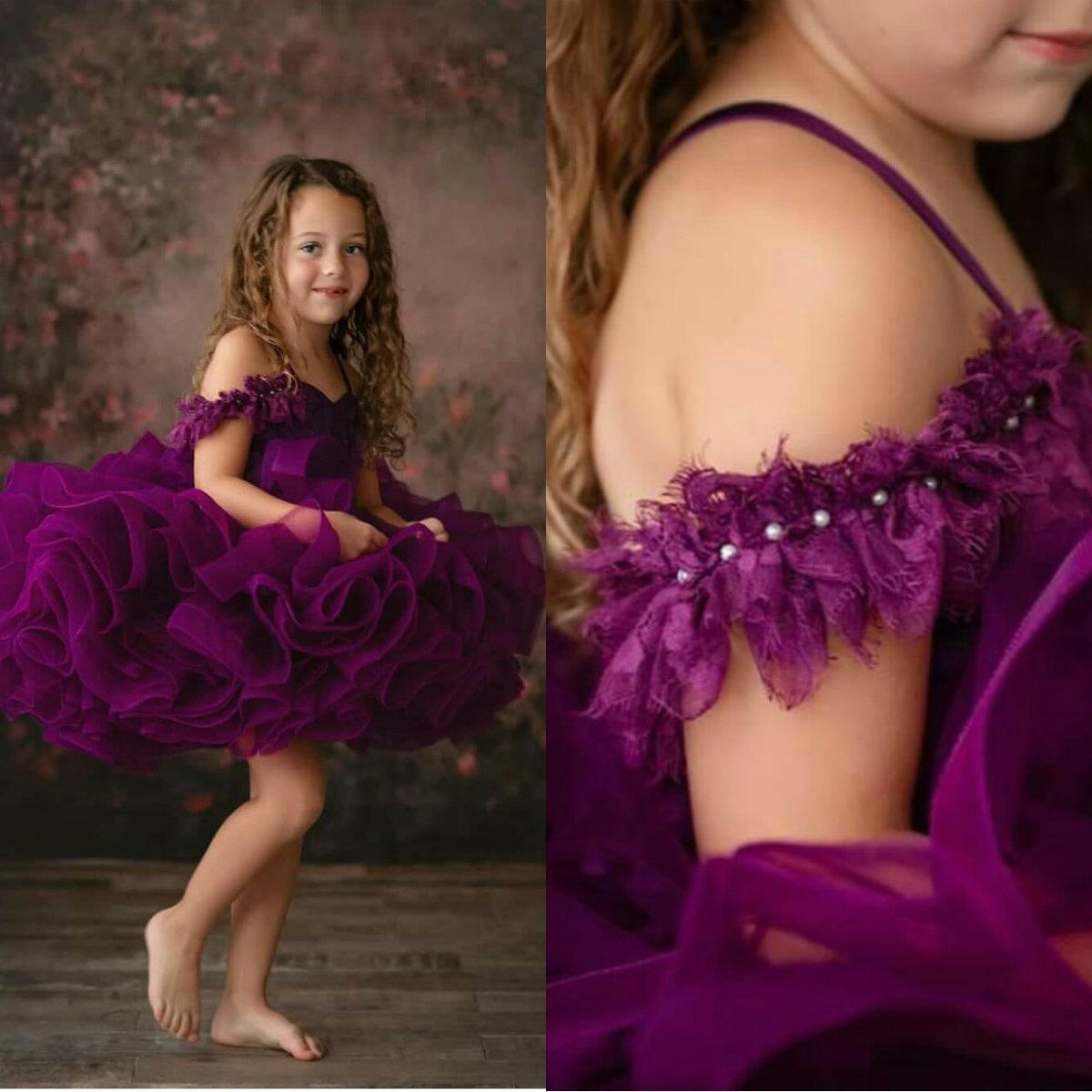Lovely Puffy Ball Gown Girls Pageant Dresses Lace Off Shoulder Tiered Ruffles Evening Party Birthday Gowns Flower Girl Dresses For Weddings