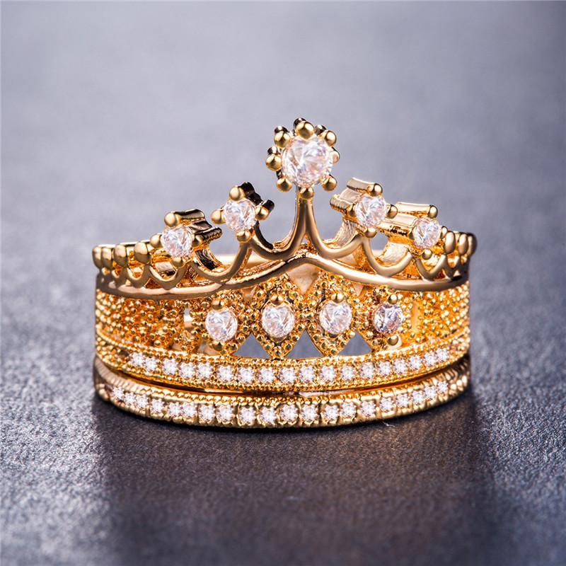 20200615 Дамы Engagement Wedding Set коронка кольцо