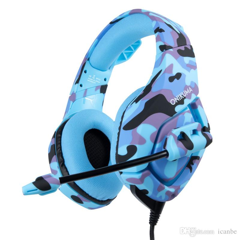 ONIKUMA K1 Camouflage PC Gaming Headset for PS4 XBOX One 3.5mm Stereo USB LED Headphones withMic Volume Control f Laptop Mac PlayStation 4