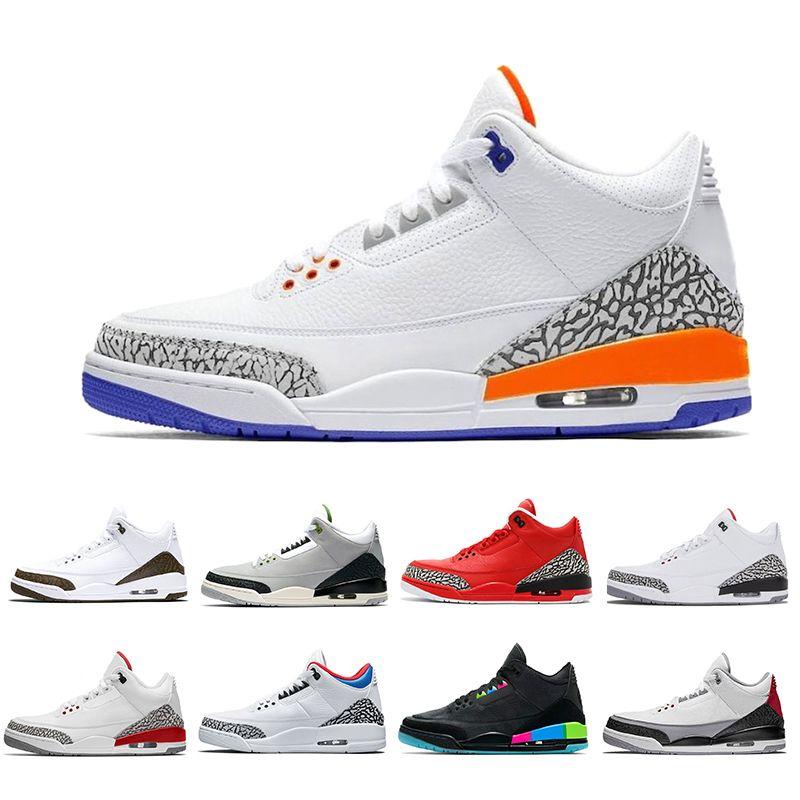 2019 ретро Катрина 3 3s баскетбольная обувь для мужчин Quai 54 мужчины 3 Черный цемент Тинкер хлорофилл Varsity красный спортивный дизайнер кроссовки 8-13