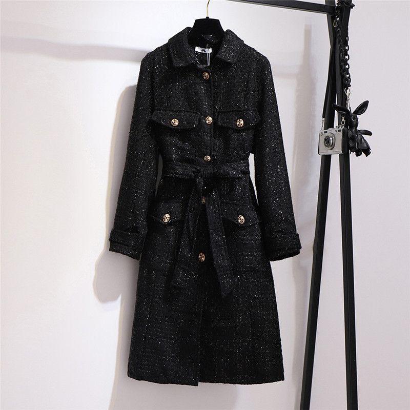 Tempérament mince long Tweed Trench grande taille 6XL femmes Manteaux Automne Printemps noir coupe-vent Pardessus N1168