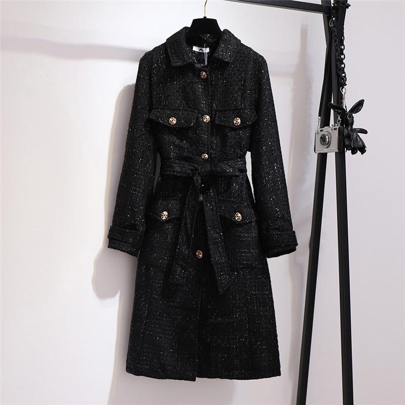 Temperament dünnen langen Tweed Trenchcoat Large Size 6XL Frauen Windjacke Frühling und Herbst Mäntel schwarz Mäntel N1168