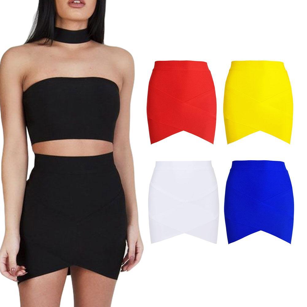 Dowell Incb 2019 más nuevo mini faldas elástico de cintura alta sexy bodycon vendaje falda niñas mujeres moda damas faldas vaina