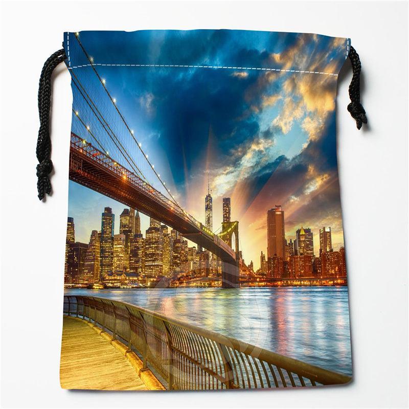 Nuovo New York custodia stampata 27x35cm raso borse coulisse Compression Tipo Borse Personalizza i tuoi regali di immagini