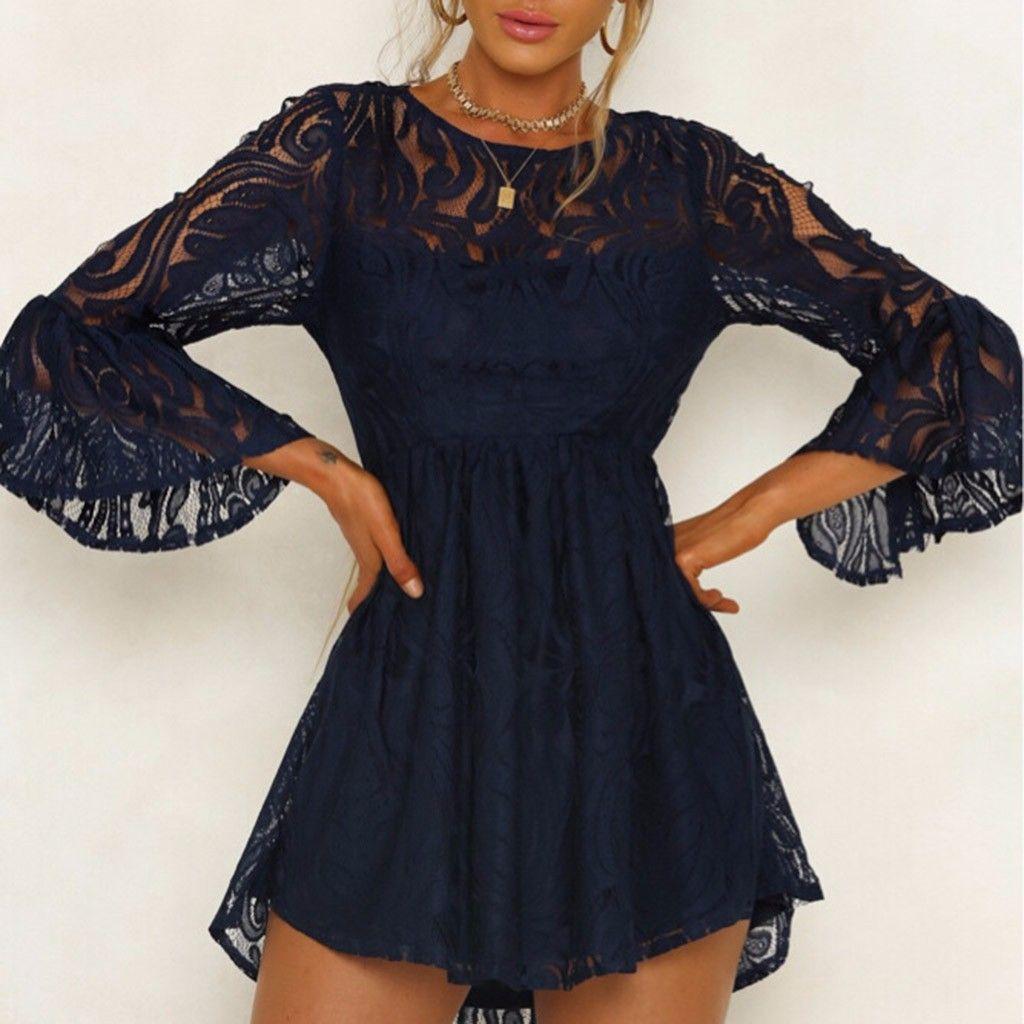 Camisa extragrande Vestido de manga larga Fiesta elegante Lápiz encaje mini sin espalda Una línea Casual O-cuello Mini vestidos para mujeres negro blanco