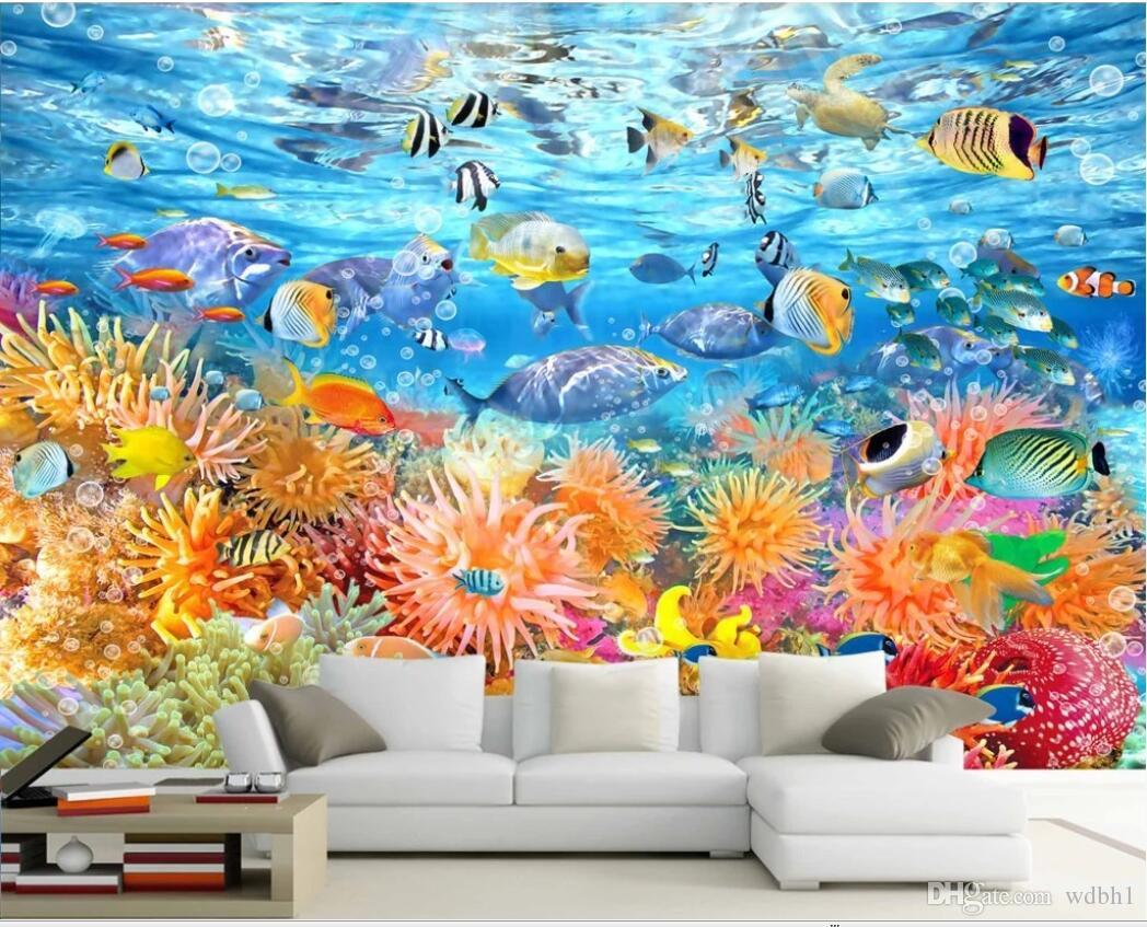 3d odası duvar kağıdı özel fotoğraf duvar Bir sualtı dünyası TV arka plan duvar uzay duvar kağıdı Duvar kağıdı duvarlar için büyük duvar kağıdı 3 d