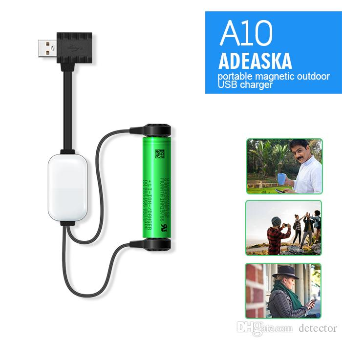 ADEASKA A10 18650 Battery Charger for Li-ion Batteries Multifunction Magnetic USB Charger Mini Charging/Discharging Power Bank DHL