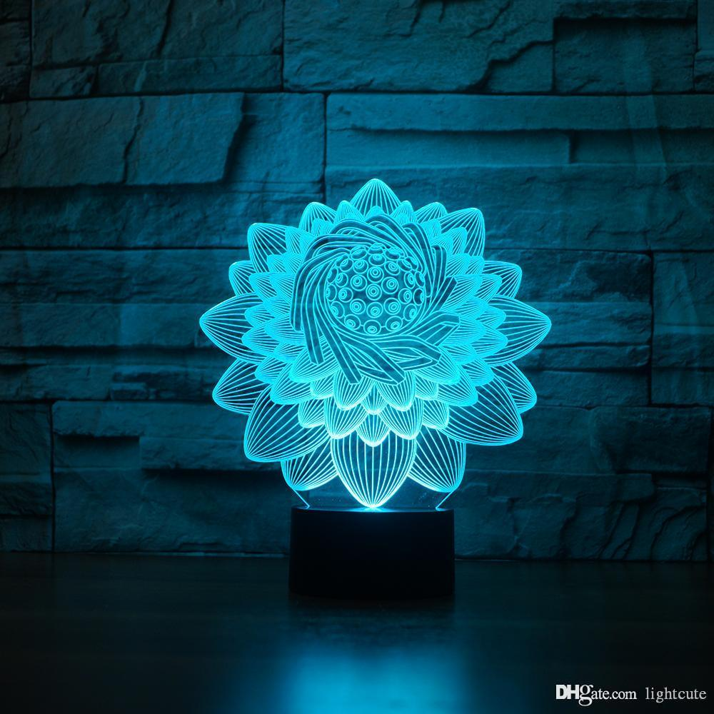 lotus 3D Illusion Night Light Touch 7 Color Change Home Decor Baby Girl Boy LED Lamp Kids Gift Christmas Xmas Gifts