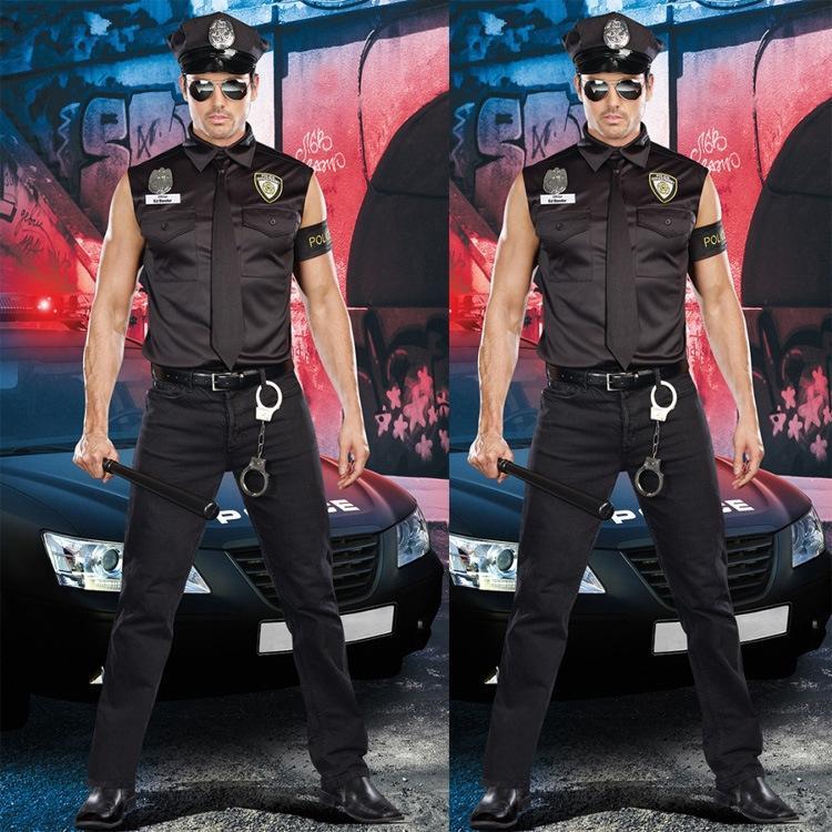 E9DD9 Yeni Cadılar Bayramı polis rol yapma eğitmen üniforma günaha DS Yeni ds sahne kıyafeti cadılar erkek polis üniforması erkek dsou sahne