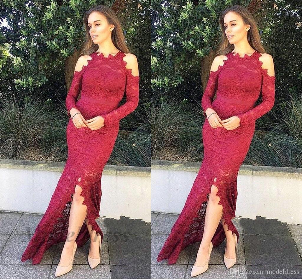 Fashionable Lace Long Sleeve Evening Dresses Off the Shoulder Shapes Jewel Neck Front Split Elegant Evening Gowns Women Chic Party Dress