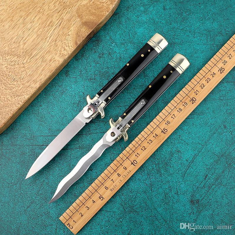 OEM мафиози плюс 9 дюймов leverletto D2 волна змея лезвие Natural Horn ручка карман ITA нож автоматический нож складные ножи кемпинга 1шт
