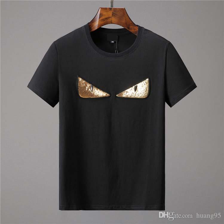 Envío gratis 2019 verano nuevos hombres camiseta de manga corta camiseta de algodón de diseño de alta calidad delgada camiseta moda casual camiseta camiseta