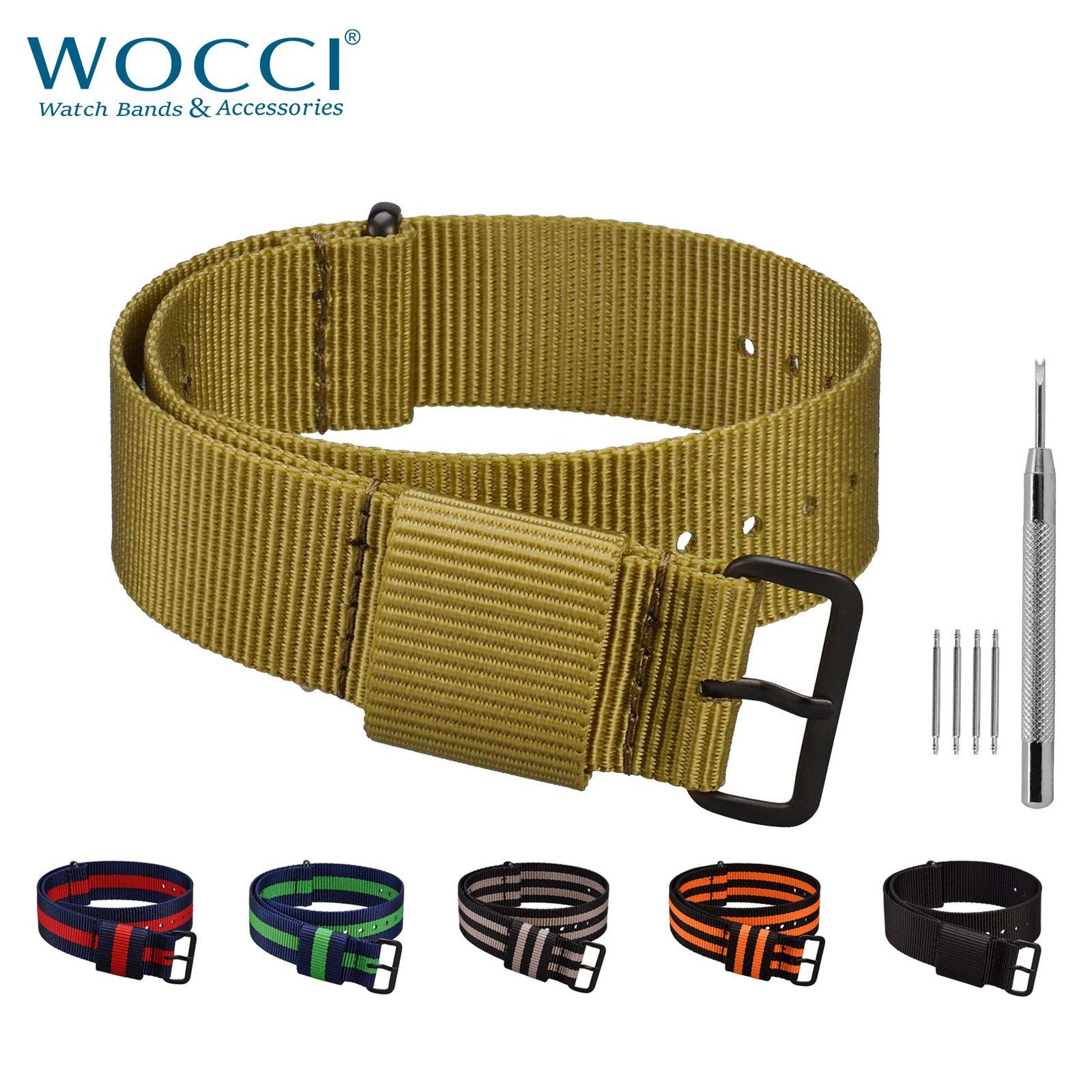 Bracelet de montre WOCCI Nato 18mm 20mm 22mm 24mm Bandes Nylon 6 Couleurs Taille Large Poignet
