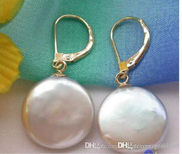 ENVÍO GRATIS ++ pendiente de perlas de agua dulce de la moneda jo