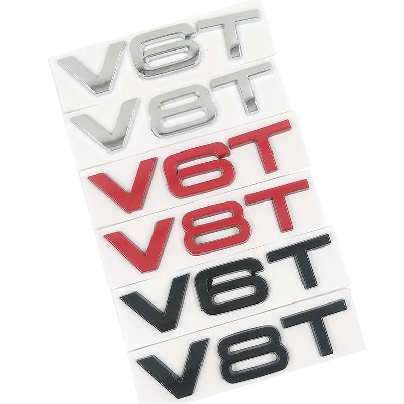 10 частей автомобиля Стайлинг 3D металл V6T V8T V6 V8 T Fender Side Body эмблемы Tail Магистральной Fender Знак наклейка для Audi A4 A3 A5 A6 A1 Q3 Q5 Q7