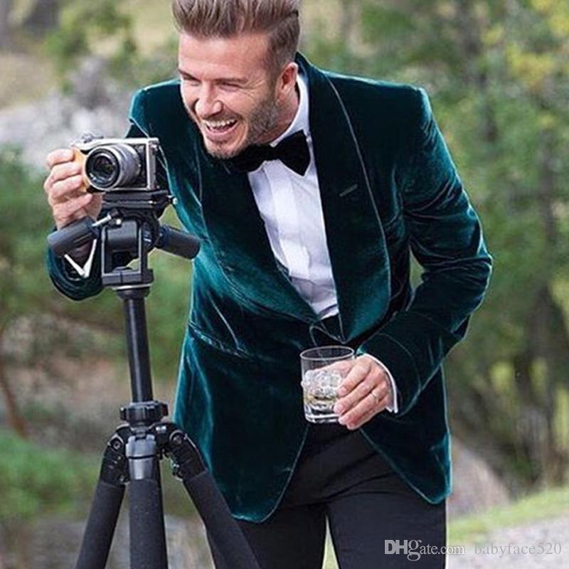 Casual Style Grün Samt Männer Anzüge Hochzeit Smoking Schal Revers One Button Blazer Hochzeit Smoking Nach Maß Mantel (jacke + Pants)