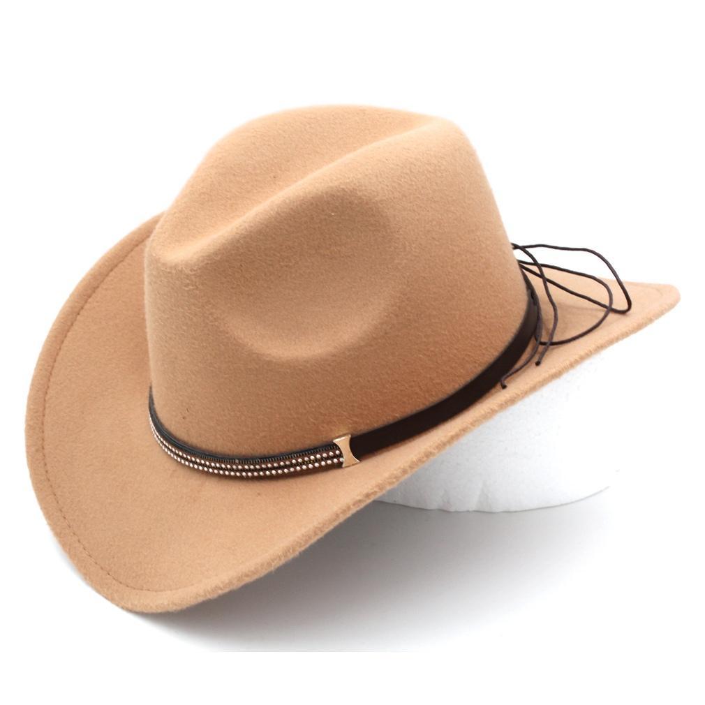 Large Bord En Plein Air Partie Rue Plage Caps Western Cowboy Cowgirl Chapeau Unisexe Adulte Jazz Fedora Panama Trilby Feutre De Laine Boucle Nouveau Top Mode