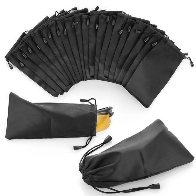 5pcs preto portátil pano macio óculos de sol Bolsa de microfibra poeira impermeável Carry Bolsa de armazenamento Óculos Bag Eyewear Caso Container