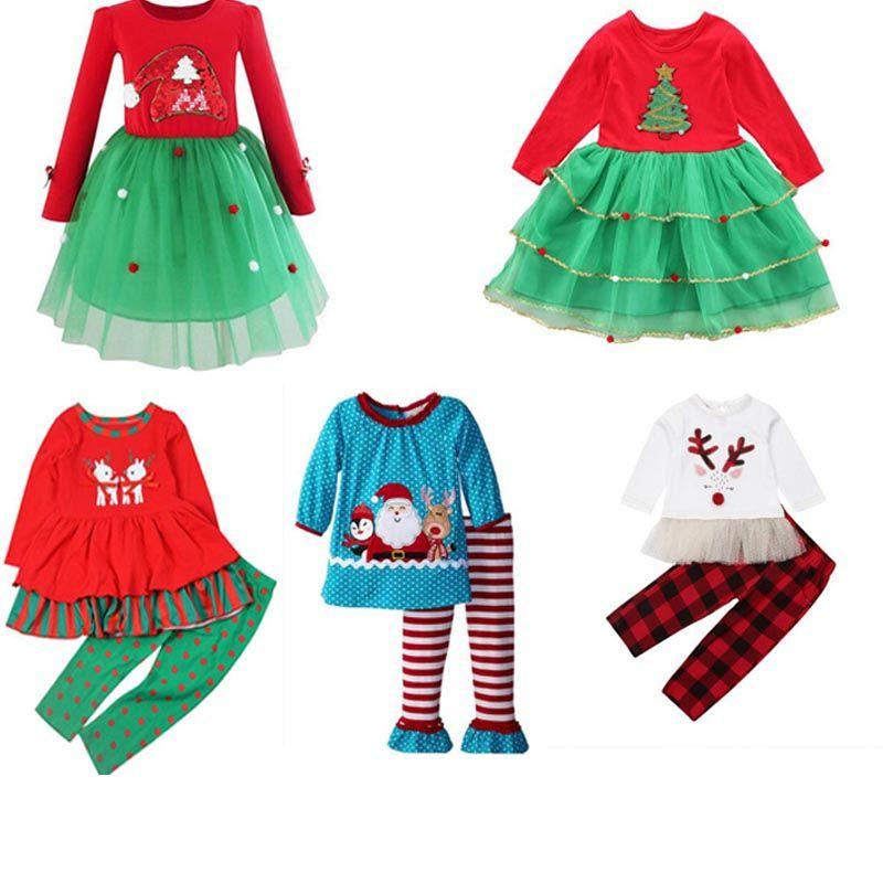 ребенок дети гирс новогодние комплекты одежды дети с длинным рукавом рождество снежная олень дерево принт комплект девушки причинно-летняя девочка комплект футболка + брюки