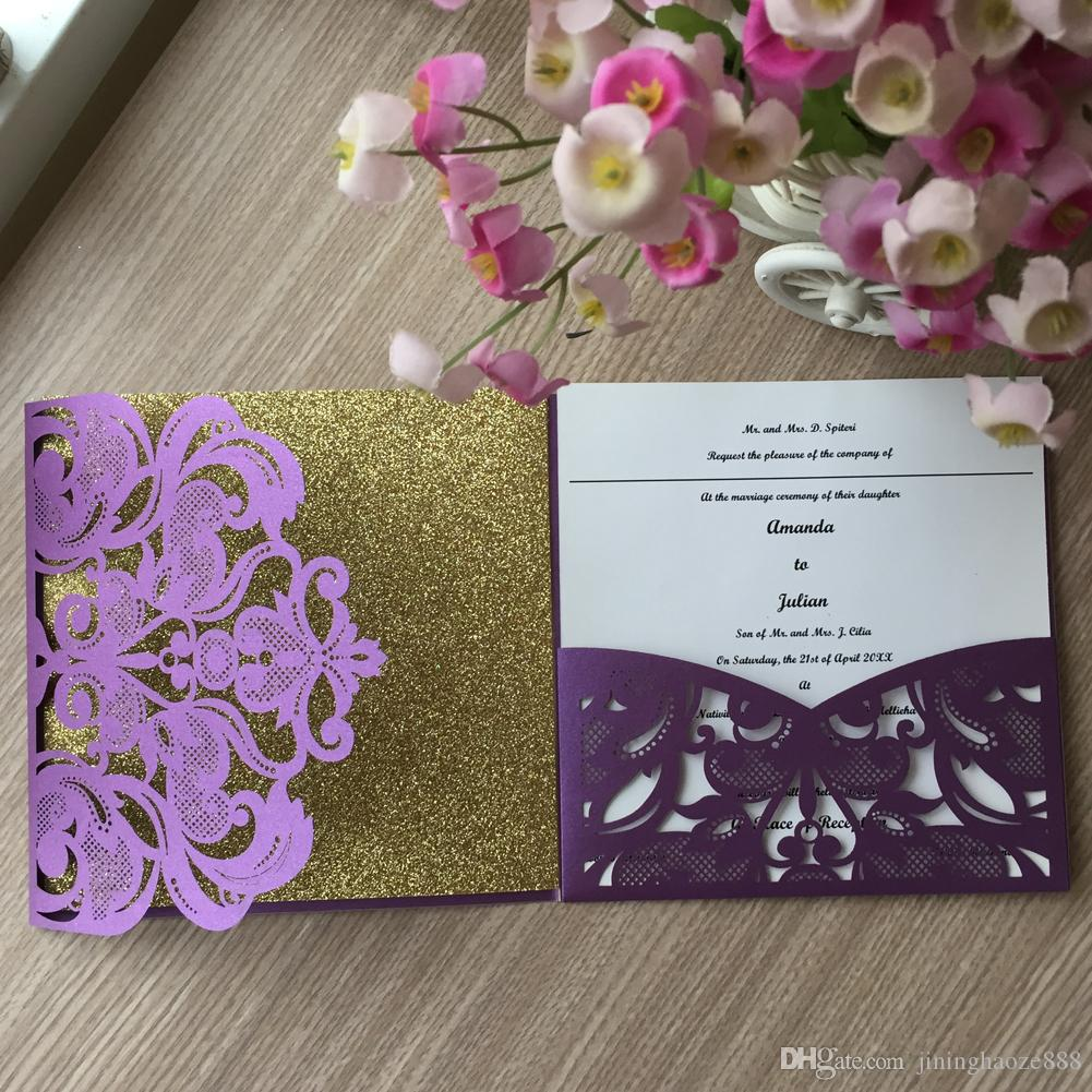 25PCS /lot Exquisite Butterfly Pattern Tri-folding Type Wedding Invitations Cards Decoration With Hollow Lace Floral Thanksgiving Gift Cards