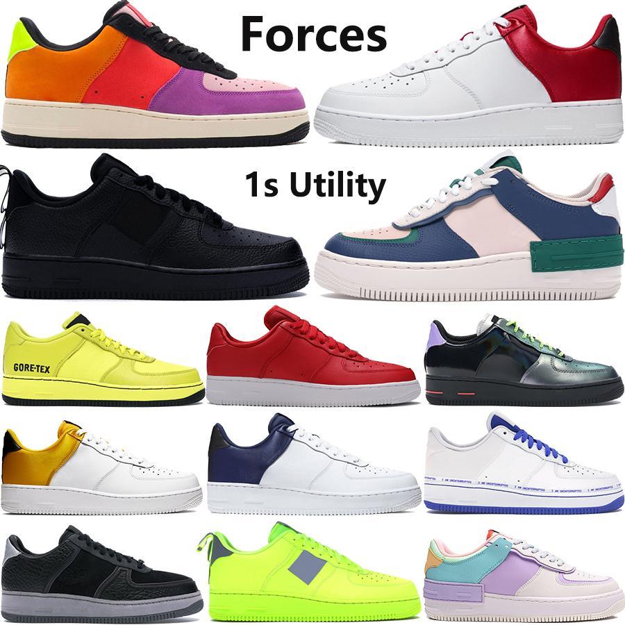 Novos sapatos casuais Forças que o Volt LA CNY dia preto branco do 1 inoperante 1s Utility das mulheres dos homens das sapatilhas de plataforma